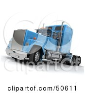 Royalty Free RF 3D Clipart Illustration Of A Blue Big Rig Truck Angle 5