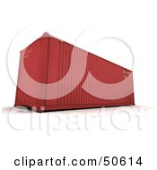 Royalty Free RF 3D Clipart Illustration Of A Red Cargo Container by Frank Boston