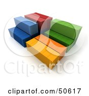 Royalty Free RF 3D Clipart Illustration Of Colorful Stacked Cargo Containers by Frank Boston