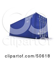 Royalty Free RF 3D Clipart Illustration Of A Blue Cargo Container Version 1 by Frank Boston #COLLC50618-0095