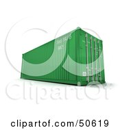 Royalty Free RF 3D Clipart Illustration Of A Green Cargo Container by Frank Boston