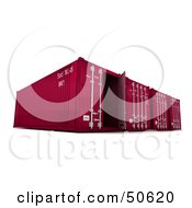 Royalty Free RF 3D Clipart Illustration Of A Row Of Red Cargo Containers