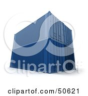 Royalty Free RF 3D Clipart Illustration Of Stacked Blue Cargo Containers Version 2 by Frank Boston
