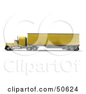 Royalty Free RF 3D Clipart Illustration Of A Yellow Big Rig Truck Angle 1