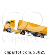 Royalty Free RF 3D Clipart Illustration Of A Yellow Big Rig Truck Angle 2