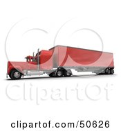 Royalty Free RF 3D Clipart Illustration Of A Red Big Rig Truck Angle 1
