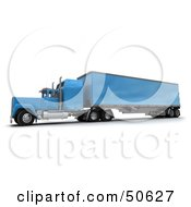 Royalty Free RF 3D Clipart Illustration Of A Blue Big Rig Truck Angle 1