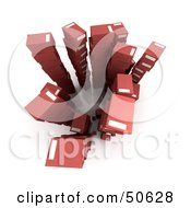 Royalty Free RF 3D Clipart Illustration Of Stacks Of Red Boxes