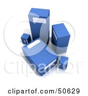 Royalty Free RF 3D Clipart Illustration Of Five Blue Boxes