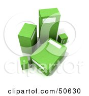 Royalty Free RF 3D Clipart Illustration Of Five Green Boxes