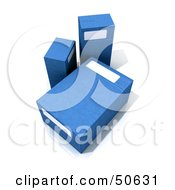 Royalty Free RF 3D Clipart Illustration Of Three Blue Boxes
