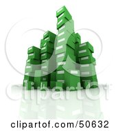 Royalty-Free (RF) 3D Clipart Illustration of Stacks of Green Boxes by Frank Boston
