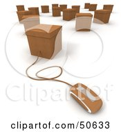 Royalty Free RF 3D Clipart Illustration Of A Computer Mouse Connected To A Box Version 7