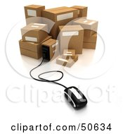 Royalty Free RF 3D Clipart Illustration Of A Computer Mouse Connected To A Box Version 9