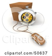 Royalty Free RF 3D Clipart Illustration Of A Yellow Stopwatch By A Box With A Computer Mouse