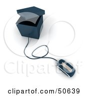 Royalty Free RF 3D Clipart Illustration Of A Computer Mouse Connected To A Box Version 2