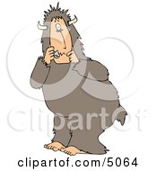 Scared Person Wearing A Halloween Bigfoot Costume Clipart