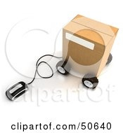 Royalty Free RF 3D Clipart Illustration Of A Computer Mouse Connected To A Parcel Version 1