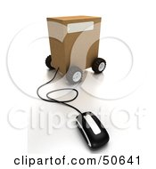 Royalty Free RF 3D Clipart Illustration Of A Computer Mouse Connected To A Parcel Version 3