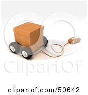 Royalty Free RF 3D Clipart Illustration Of A Computer Mouse Connected To A Parcel Version 2