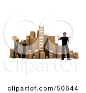 Royalty Free RF 3D Clipart Illustration Of Male Workers Stacking Boxes In A Warehouse Version 1 by Frank Boston