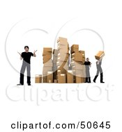 Royalty Free RF 3D Clipart Illustration Of Male Workers Stacking Boxes In A Warehouse Version 2 by Frank Boston