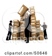 Royalty Free RF 3D Clipart Illustration Of Male Workers Stacking Boxes In A Warehouse Version 4