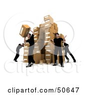 Royalty Free RF 3D Clipart Illustration Of Male Workers Stacking Boxes In A Warehouse Version 3 by Frank Boston