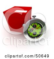Royalty Free RF 3D Clipart Illustration Of A Stopwatch Resting Against A Shipping Box Version 2