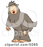 Woman Wearing A Halloween Bigfoot Costume Clipart by djart