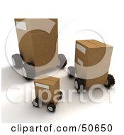 Royalty Free RF 3D Clipart Illustration Of Cardboard Shipping Boxes On Wheels Version 1