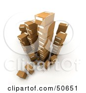 Royalty Free RF 3D Clipart Illustration Of Stacks Of Cardboard Boxes Angle 6