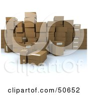 Royalty Free RF 3D Clipart Illustration Of A Group Of Prepared Shipping Boxes Version 2
