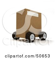Royalty Free RF 3D Clipart Illustration Of A Cardboard Shipping Box On Wheels Version 2