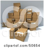 Royalty Free RF 3D Clipart Illustration Of A Group Of Prepared Shipping Boxes Version 8
