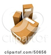 Royalty Free RF 3D Clipart Illustration Of Three Cardboard Boxes Angle 2