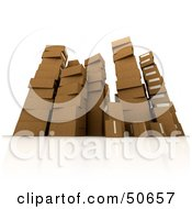 Royalty Free RF 3D Clipart Illustration Of Stacks Of Cardboard Boxes Angle 3