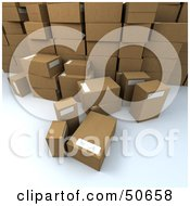 Royalty Free RF 3D Clipart Illustration Of A Group Of Prepared Shipping Boxes Version 3