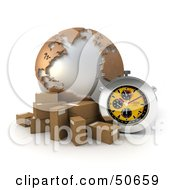 Royalty Free RF 3D Clipart Illustration Of A Yellow Stopwatch By A Globe And Parcels by Frank Boston