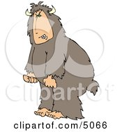 Mad Man Wearing A Halloween Bigfoot Costume Clipart