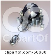 Royalty Free RF 3D Clipart Illustration Of A Computer Mouse In Front Of A Globe With Parcels Version 2