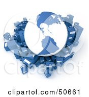 Royalty Free RF 3D Clipart Illustration Of A Blue Globe Surrounded By International Shipment Parcels Version 1 by Frank Boston