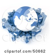 Royalty Free RF 3D Clipart Illustration Of A Blue Globe Surrounded By International Shipment Parcels Version 2 by Frank Boston