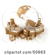 Royalty Free RF 3D Clipart Illustration Of A Cardboard Globe Surrounded By Shipping Parcels Version 5 by Frank Boston