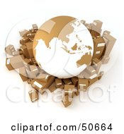 Royalty Free RF 3D Clipart Illustration Of A Cardboard Globe Surrounded By Shipping Parcels Version 1 by Frank Boston
