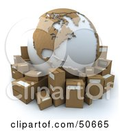 Royalty Free RF 3D Clipart Illustration Of A Cardboard Globe Surrounded By Shipping Parcels Version 4 by Frank Boston
