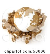 Royalty Free RF 3D Clipart Illustration Of A Cardboard Globe Surrounded By Shipping Parcels Version 3 by Frank Boston