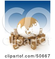Royalty Free RF 3D Clipart Illustration Of A Cardboard Globe Surrounded By Shipping Boxes Version 4 by Frank Boston