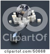 Royalty Free RF 3D Clipart Illustration Of A Computer Mouse In Front Of A Globe With Parcels Version 1