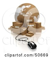 Royalty Free RF 3D Clipart Illustration Of A Globe With Boxes And A Computer Mouse Version 2
